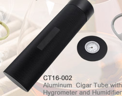 Aluminum Cigar Tube with Hygrometer and Humidifier