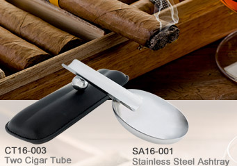 Two Cigar Tube Leather Case_Stainless Steel Ashtray